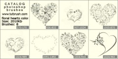 floral heart - photoshop brush preview
