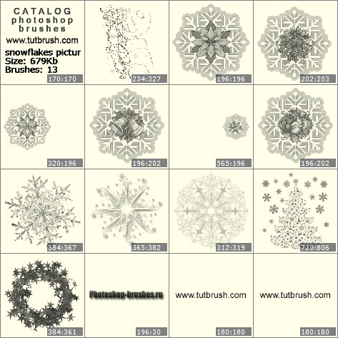 Photoshop brushes snowflakes pictures