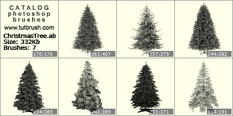 Кисти для фотошопа Рождественская елка пустая