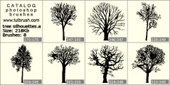 trees silhouettes - photoshop brush preview