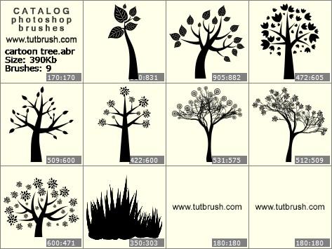 Кисті фотошоп мультяшне дерево