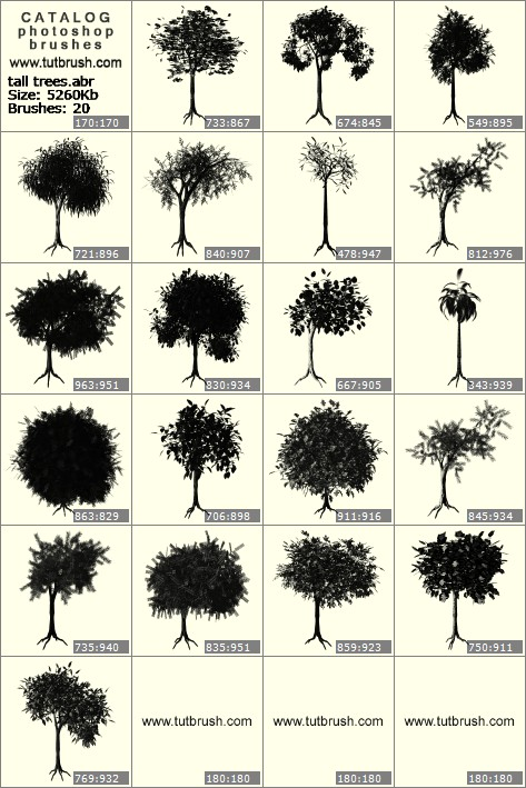Photoshop brushes low trees