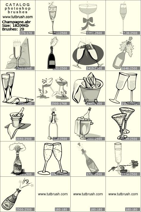 Кисти для фотошопа Шампанское