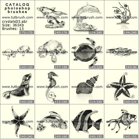 Кисті фотошоп Кристалічні рибки