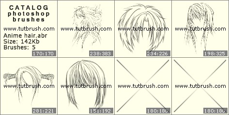 Photoshop brushes Anime hair