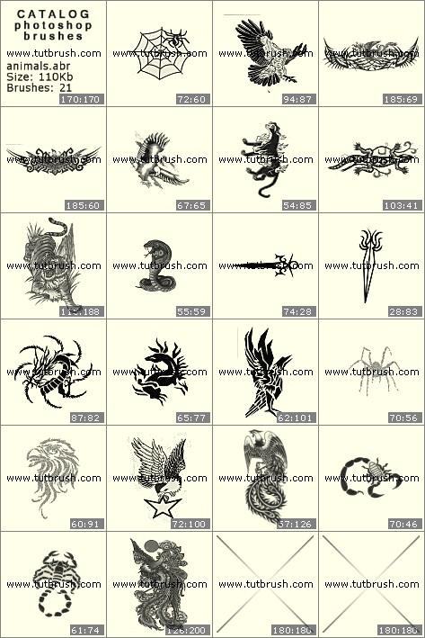 Кисти для фотошопа Татуировки животных