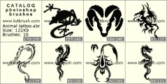 Tattoos of animals - photoshop brush preview