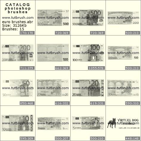 Кисти фотошоп Валюта евро