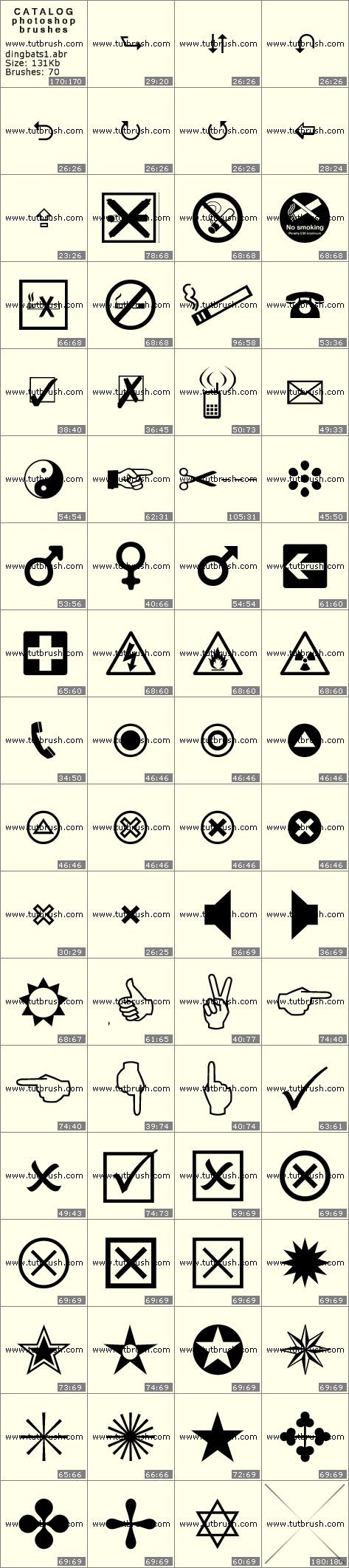 Кисти фотошоп Набор знаков