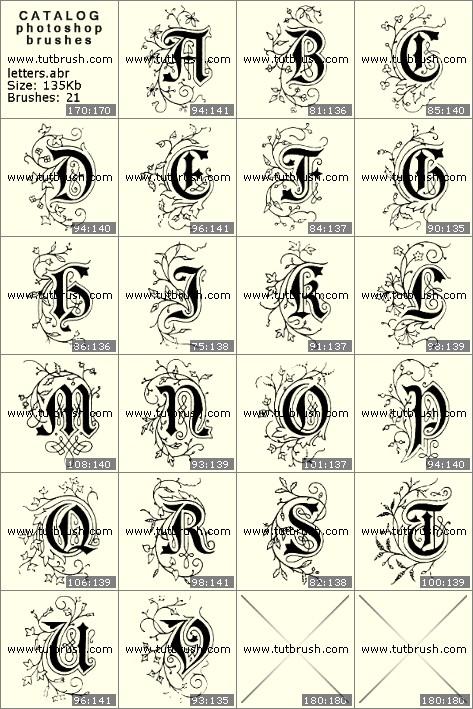 Кисти фотошоп Красивые буквы