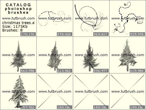 Кисти фотошоп новогодняя елка
