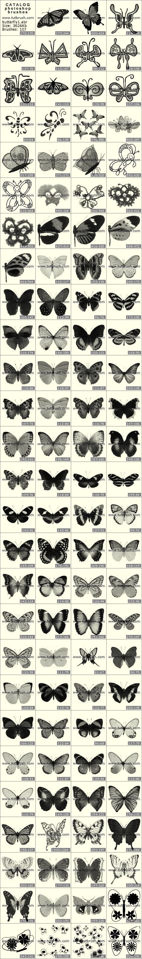 Кисти фотошоп коллекция бабочек
