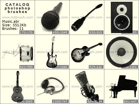 Кисти фотошоп гитара и барабан