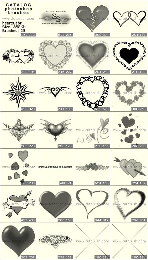 Кисти фотошоп влюбленные сердечки
