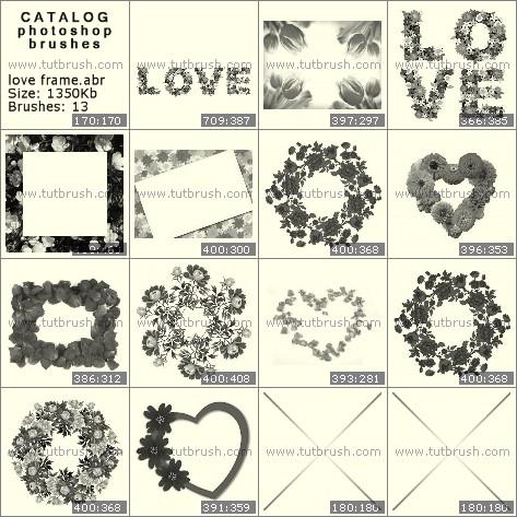 Кисти фотошоп любовные рамки