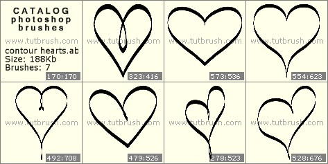 Кисти фотошоп контурные сердечки
