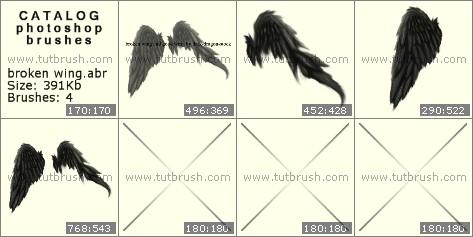 Кисти фотошоп Сломанные крылья