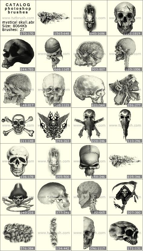 Кисти фотошоп Мистические черепа