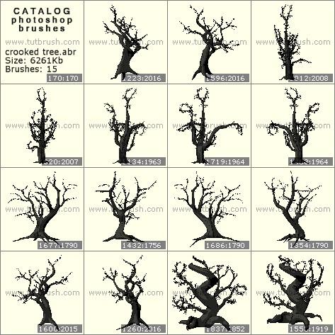 Кисти фотошоп Кривое дерево