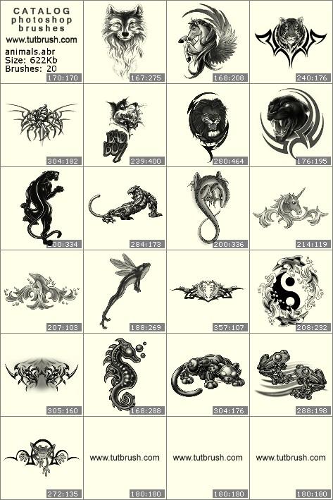 Кисти фотошоп рисунки зверей