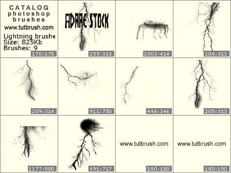 Photoshop brushes Bright lightning