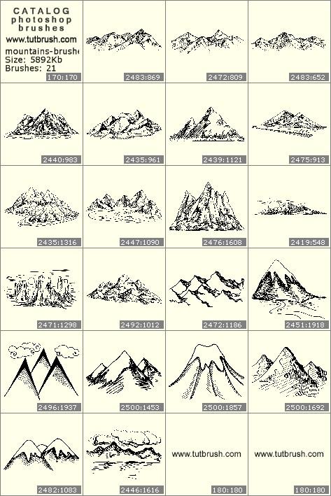 Кисти фотошоп Горные вершины