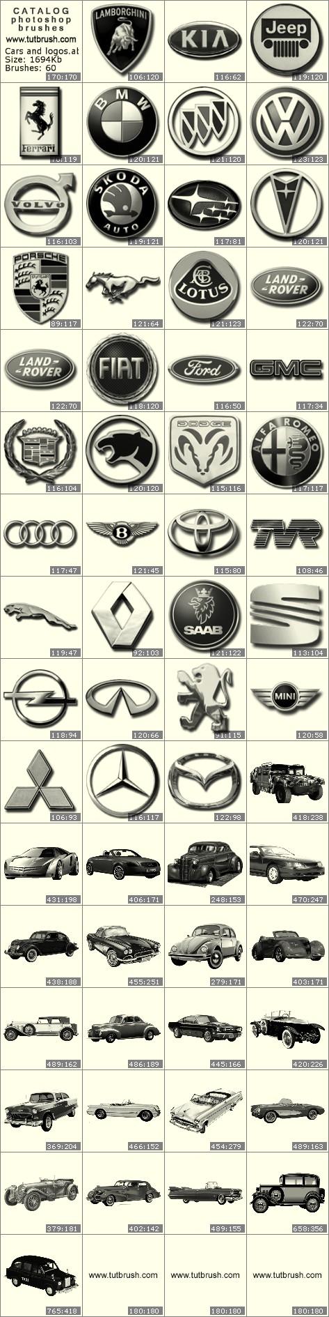 Кисти фотошоп Автомобили и логотипы: KIA, Jeep, BMW, VOLVO