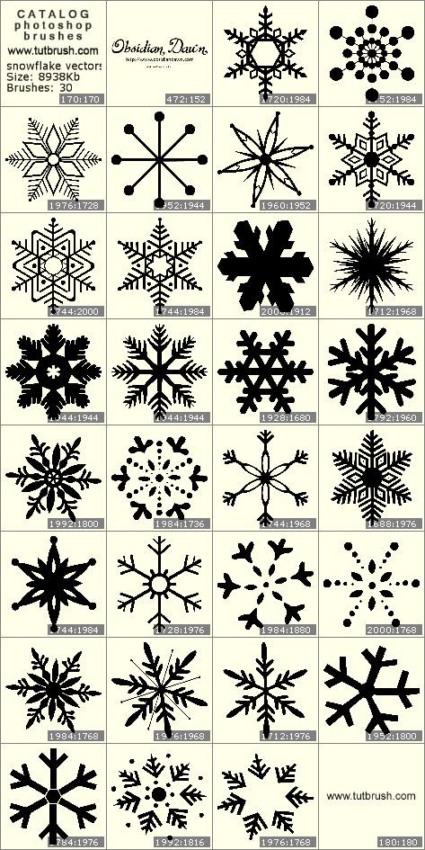 Кисти фотошоп векторные снежинки
