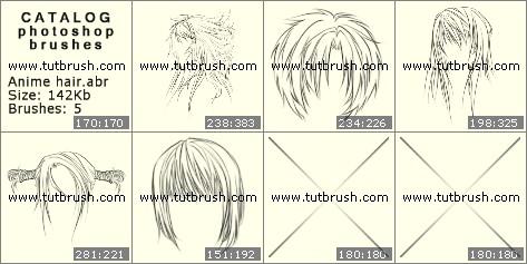 Photoshop brushes Anime hair