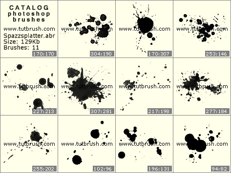 Photoshop brushes Ink spots